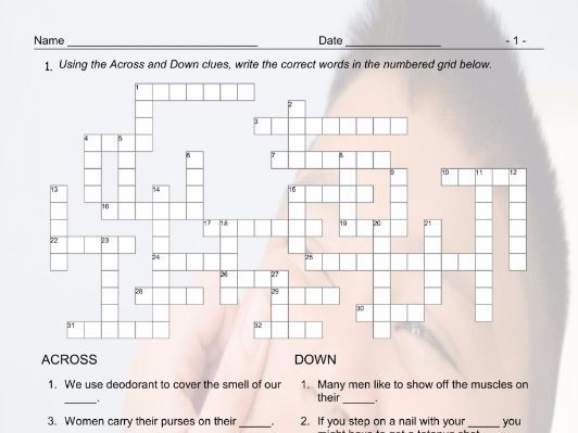 Body Parts Crossword Puzzle By Eslfungames Teaching Resources Tes