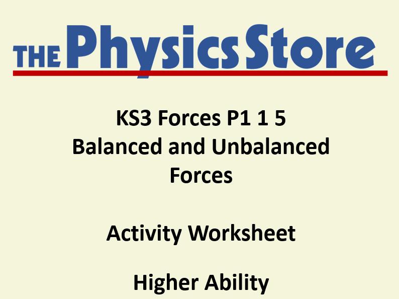 KS3 Physics P1 1 5 Balanced and Unbalanced Forces Activity Worksheet Higher Ability