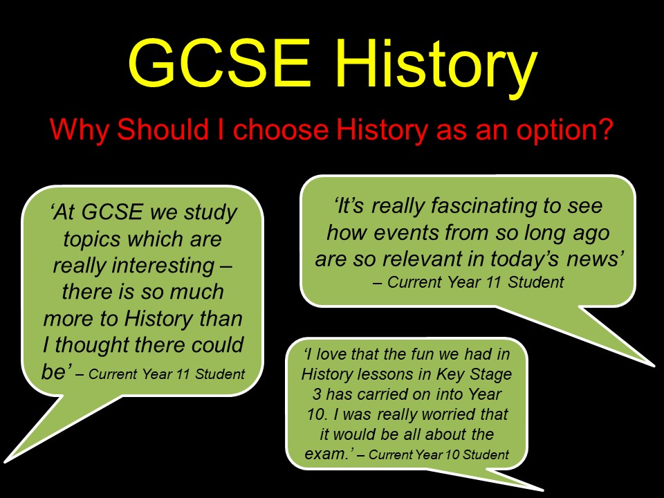 GCSE History  Options Assembly Power Point