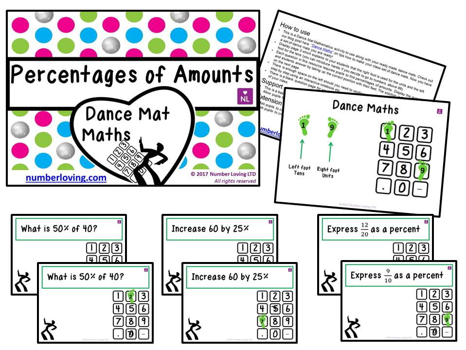 Percentages of Amounts (Dance Mat Maths)
