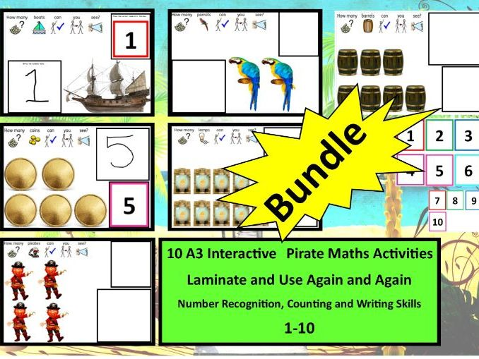 Pirate Themed Number Recognition, EYFS Counting and Writing Skills