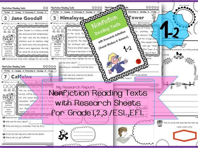 Nonfiction Reading Texts with Research Sheets ( Science & History )1-2 for KS1, Lower KS2 &ESL, EFL