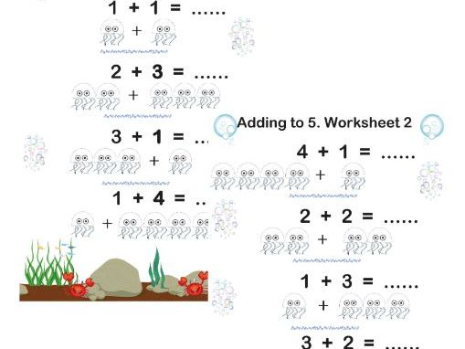 Adding up to 5.  Worksheets and Interactive Teaching Pages