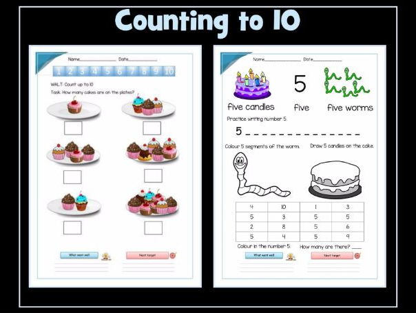 counting to 10 and number recognition worksheets by krazikas teaching resources tes. Black Bedroom Furniture Sets. Home Design Ideas