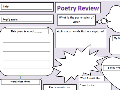 Poetry review worksheet kindergarten poetry best free for Poetry booklet template