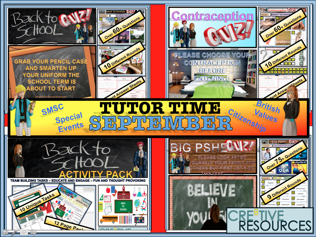 Back to School tutor Time Activities