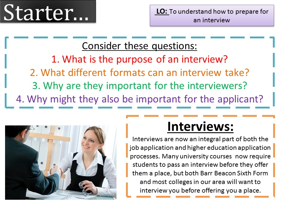 PSHE Careers- Interview preparation