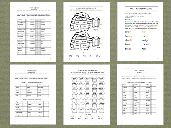 Phonics Intervention Workbook for 1-1 Support - Sounds Like, Silent Letters, Soft c and g.