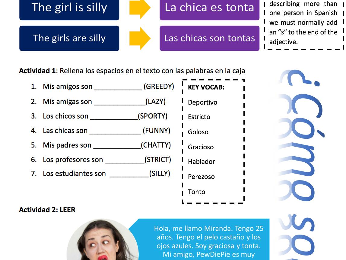 - Cómo Son? FREE SPANISH PERSONALITY DESCRIPTIONS KS3 WORKSHEET