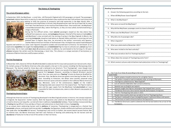 The history of Thanksgiving - Reading Comprehension Worksheet / Vocabulary Worksheet