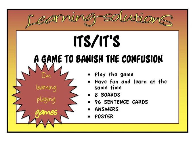 COMMONLY CONFUSED WORDS - ITS and IT'S - BOARD GAME