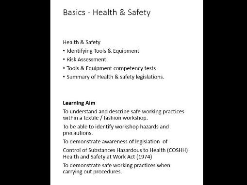 Fashion & Textiles Technical Award - Health & safety Topic lessons linked to unit 1 (AQA draft)