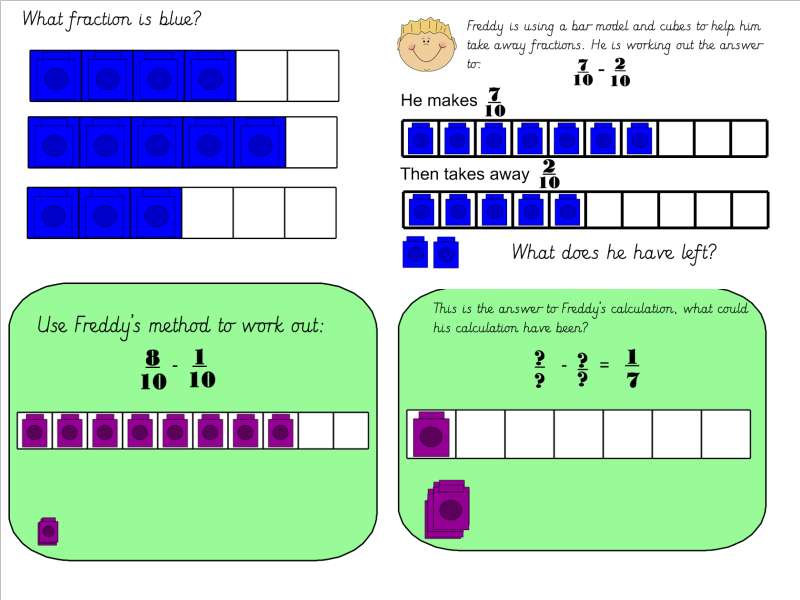 year 3 subtracting fractions using bar model and cubes by