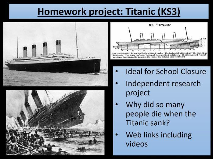Home learning - KS3 History Titanic - ideal for school closures