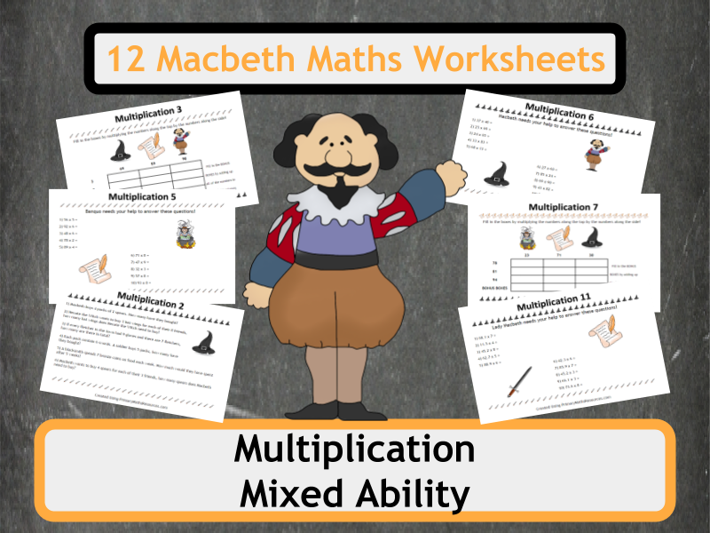 Shakespeare's Macbeth Themed Multiplication Worksheets