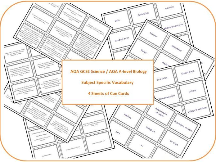 AQA Science subject specific vocabulary cue cards