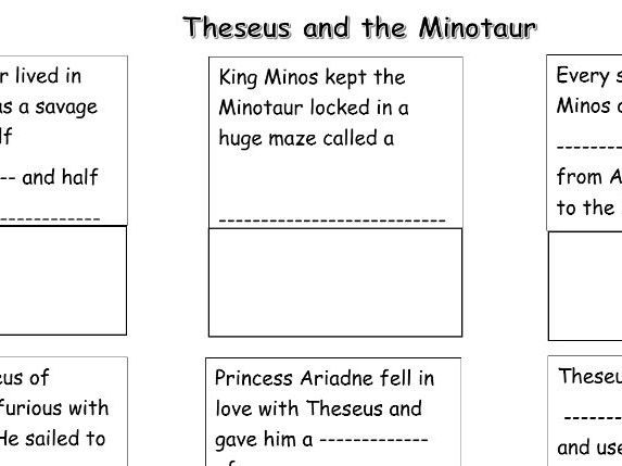 Greek Myths Theseus And The Minotaur Storyboard With Missing Words