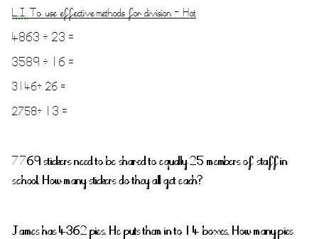 Multiplication and division Year 6 - 3 levels of differentiation