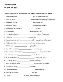 Pronoms compléments Double object pronouns French worksheet 2 by jer