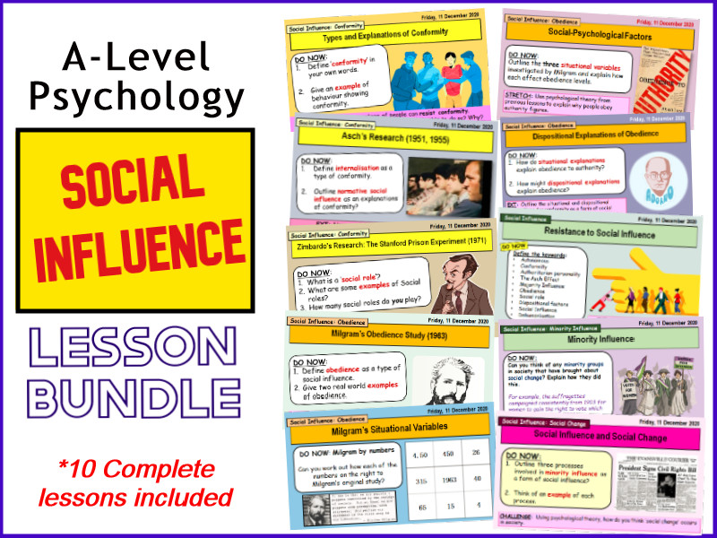 *SOCIAL INFLUENCE* COMPLETE LESSON SLIDES AND WORKSHEETS - A-LEVEL PSYCHOLOGY