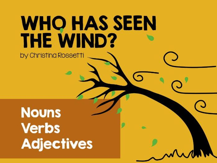 Nouns, verbs, adjectives in poetry. 'Who Has Seen The Wind?' by Christina Rossetti