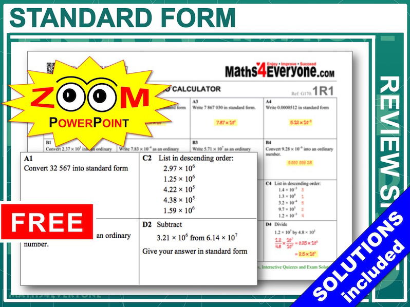 Standard Form With Solutions By Maths4everyone Teaching
