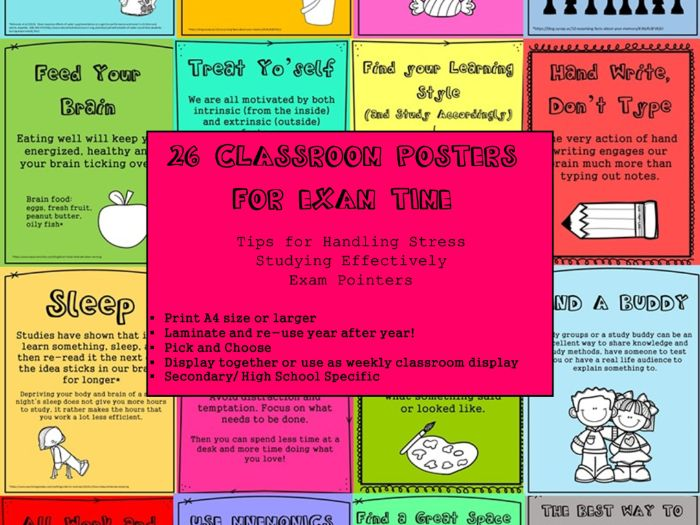 26 Pre- Exam Revision Tips  Posters