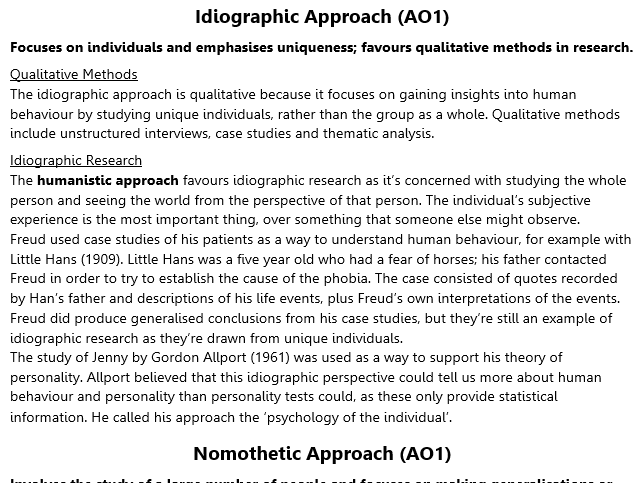 Idiographic and Nomothetic Revision (A2 Psychology)