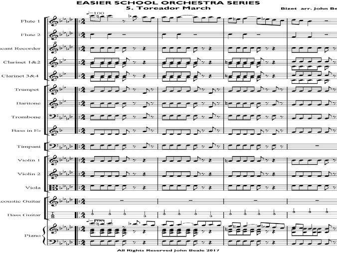 Toreador March (Carmen) arranged for school orchestra – Sibelius 5 file