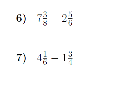 Subtracting mixed numbers with borrowing worksheet  (with solutions)