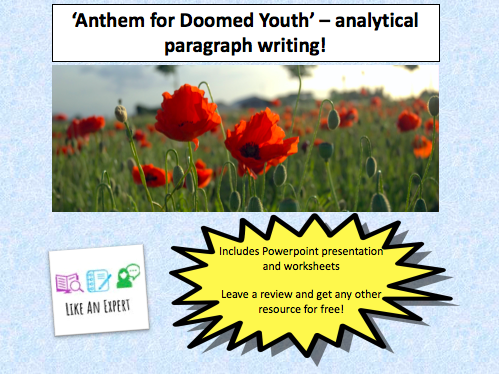 WW1 Poetry - two lessons analysing 'Anthem for Doomed Youth'