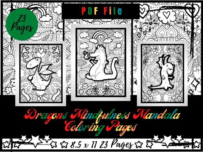 Adorable Dragons Mindfulness Mandala Colouring Pages, Printable Sheets PDF