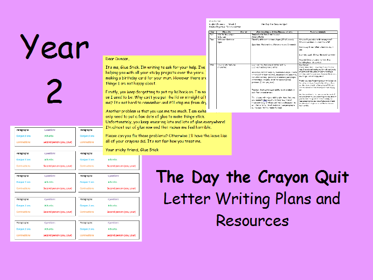 Year 2 The Day the Crayons Quit  Letter writing (2 Weeks)