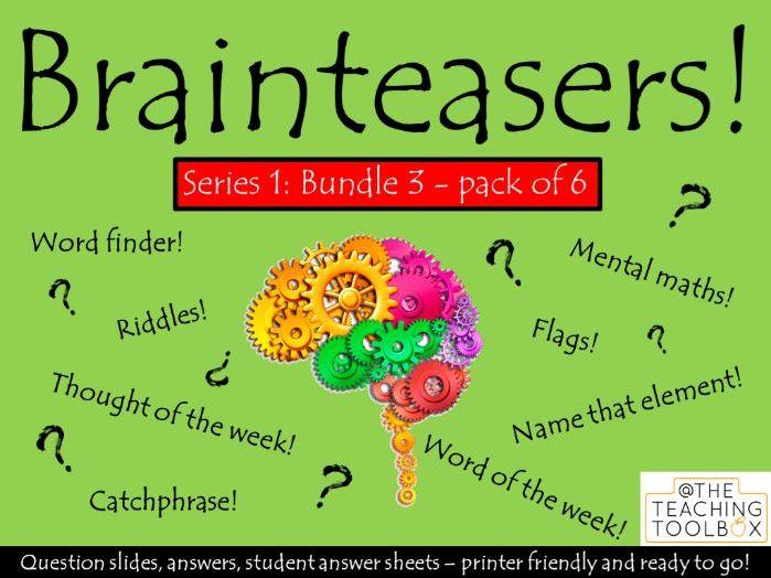 Brainteasers - Series 1 - Bundle 3 - Form / Tutor Time Quiz Activity