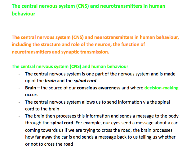 A Level Edexcel Psychology- The CNS and neurotransmitters