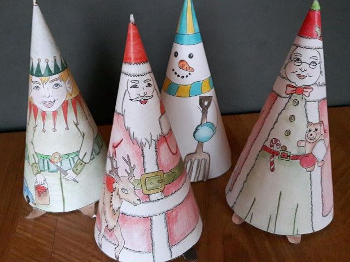 Christmas Crafts - Coneheads (Santa, Mrs. Claus, Elf, Snowman)