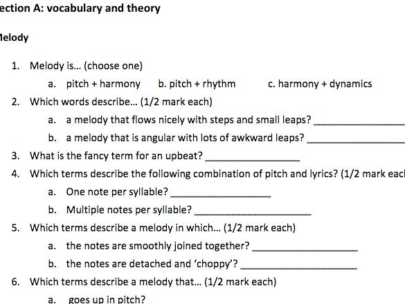 GCSE Music PLC Quiz (Eduqas)