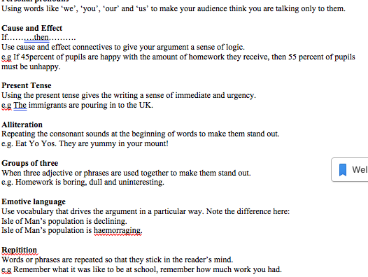 Writing to persuade - useful vocabulary -IGCSE ESL