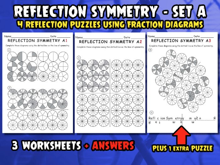 REFLECTION SYMMETRY SET A - PUZZLES USING FRACTION DIAGRAMS - 3 Worksheets + Answers