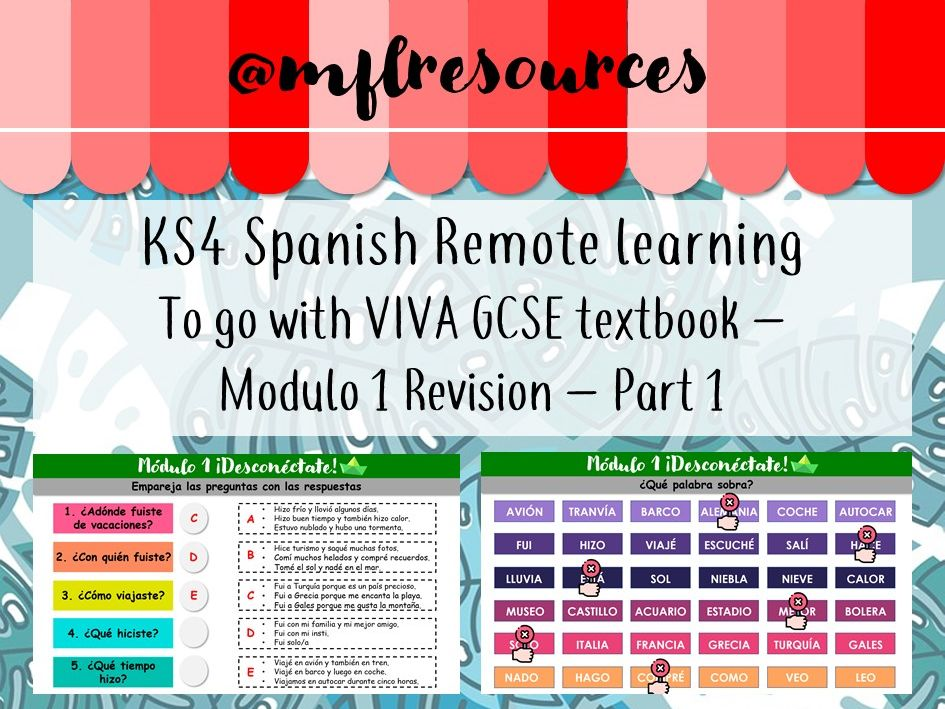 KS4 Spanish - Viva Textbook - Module 1 Revision (Part 1 - remote learning)