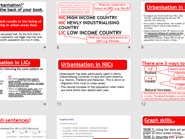 AQA URBAN ISSUES - Urbanisation (Lesson and Resources).