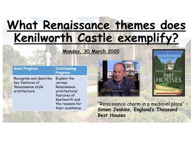 What Renaissance themes does Kenilworth Castle exemplify?