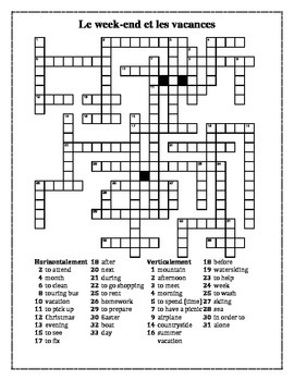 Weekend et vacances (Weekend and Vacation in French) crossword