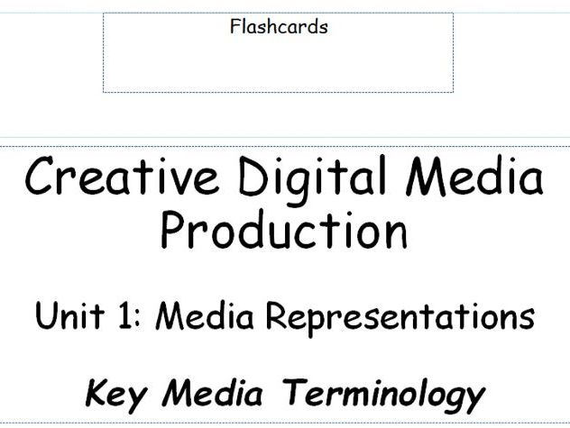 BTEC L3 Creative Digital Media Production - Unit 1: Media Representations - Flashcards