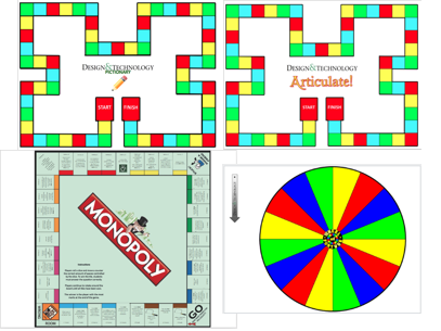 Monopoly, Pictionary, Articulate and Wheel of Fortune Revision Graphic Products