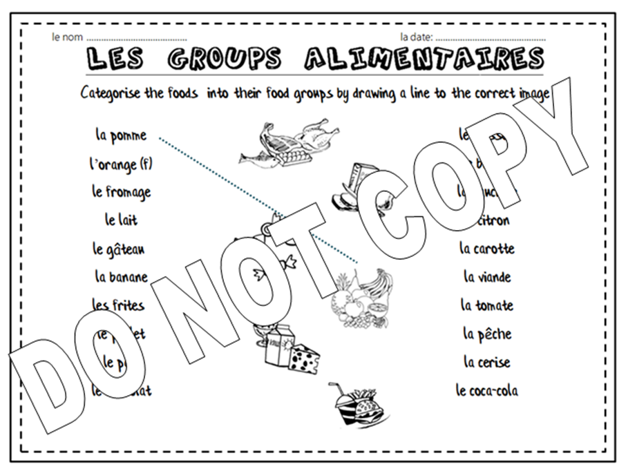 Les Groups Alimentaires - French Food Games, Activities and Worksheet