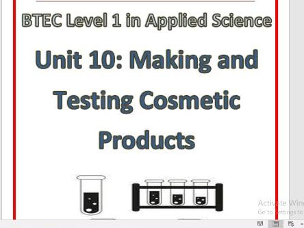 BTEC Level 1 in Science Workbook – Unit 10