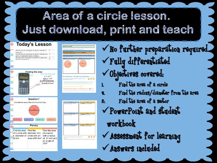 Area of a circle whole lesson