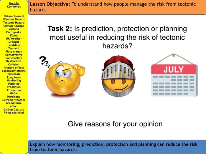 AQA Natural Hazards - Reducing the risk of tectonic hazards