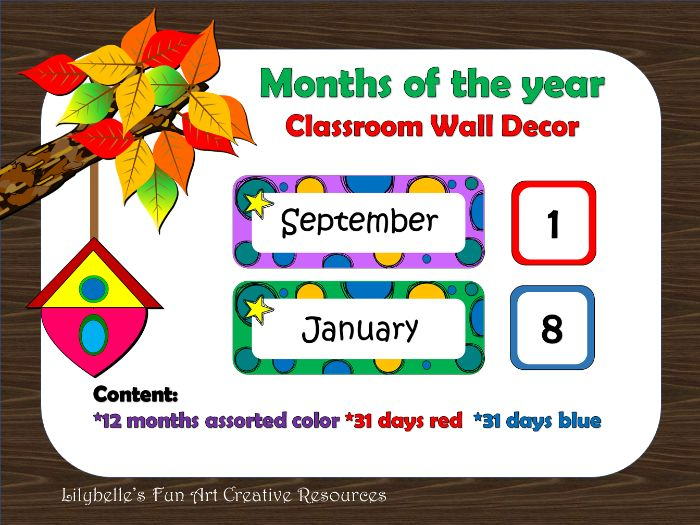 Months of the year classroom wall decor (Printable)